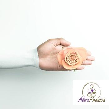mano con una flor en su palma, con el logo de empresa Alma Pranica